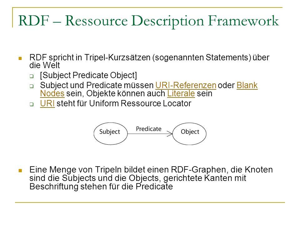 RDF – Ressource Description Framework RDF spricht in Tripel-Kurzsätzen (sogenannten Statements) über die Welt [Subject Predicate Object] Subject und P