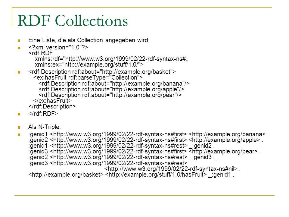 RDF Collections Eine Liste, die als Collection angegeben wird: Als N-Triple: :genid1. :genid2. :genid1 _:genid2. :genid3. :genid2 _:genid3. _ :genid3.
