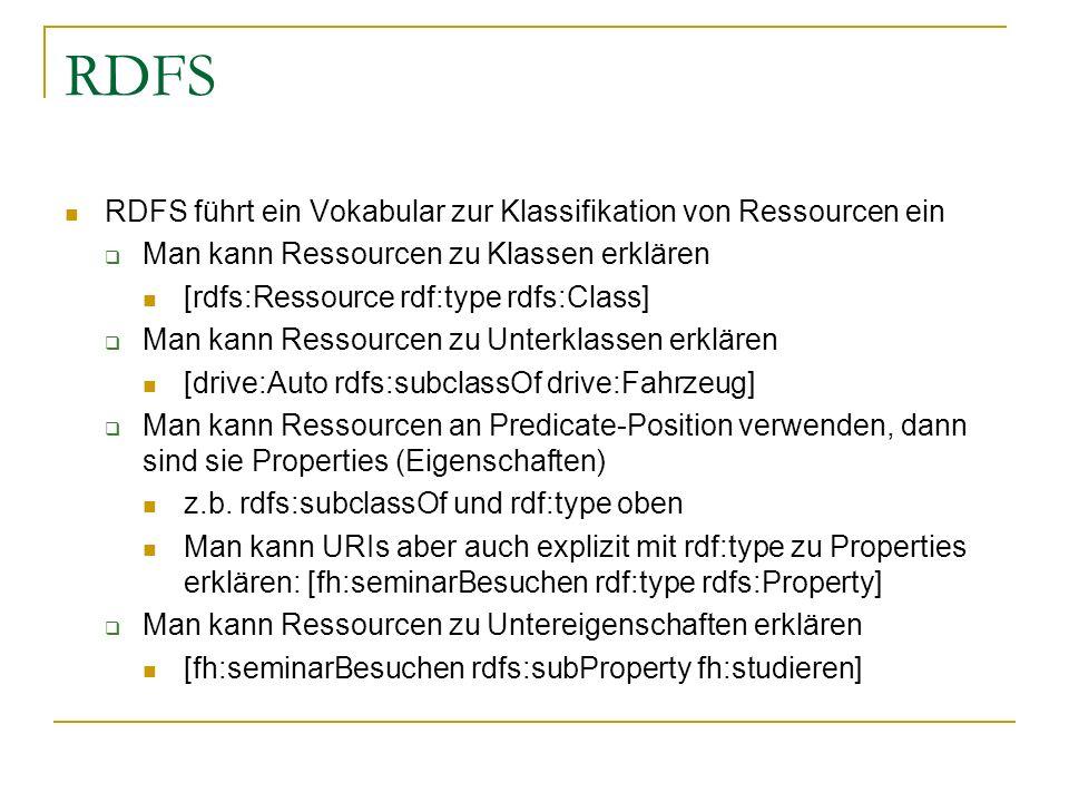 RDFS RDFS führt ein Vokabular zur Klassifikation von Ressourcen ein Man kann Ressourcen zu Klassen erklären [rdfs:Ressource rdf:type rdfs:Class] Man k
