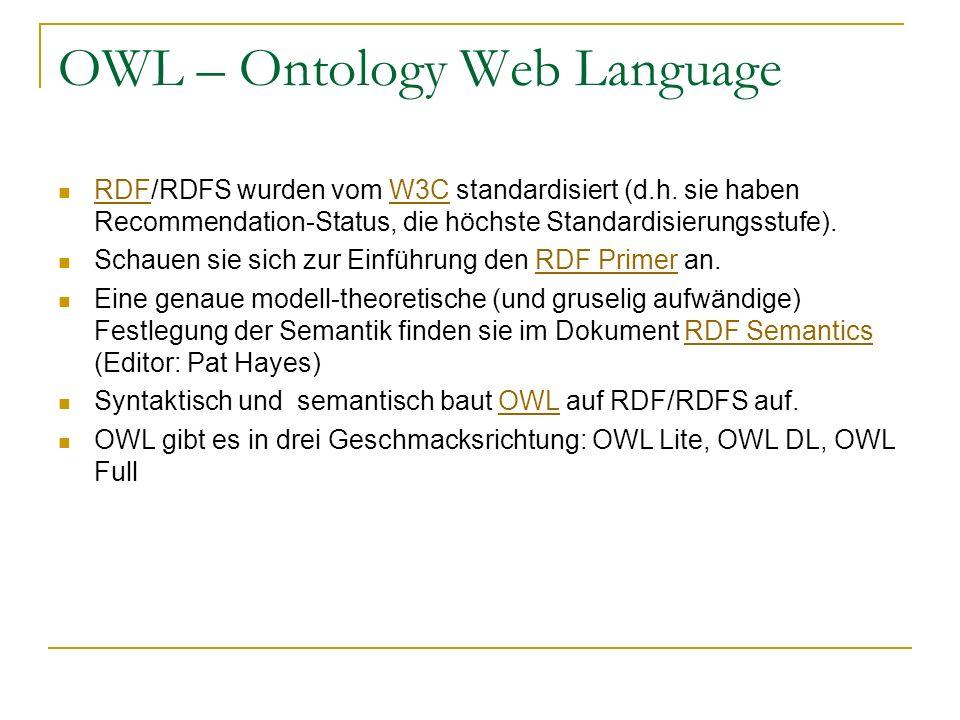 OWL – Ontology Web Language RDF/RDFS wurden vom W3C standardisiert (d.h. sie haben Recommendation-Status, die höchste Standardisierungsstufe). RDFW3C