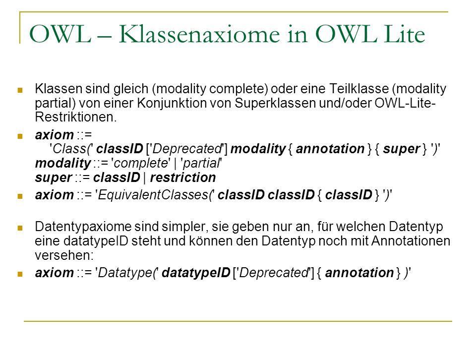 OWL – Klassenaxiome in OWL Lite Klassen sind gleich (modality complete) oder eine Teilklasse (modality partial) von einer Konjunktion von Superklassen