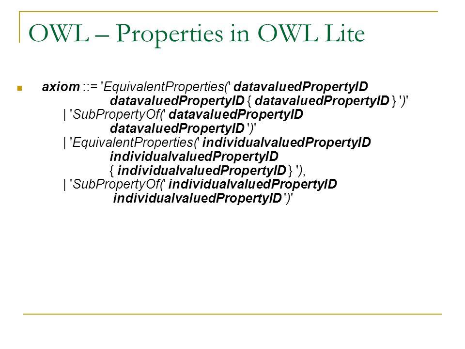 OWL – Properties in OWL Lite axiom ::= 'EquivalentProperties(' datavaluedPropertyID datavaluedPropertyID { datavaluedPropertyID } ')' | 'SubPropertyOf