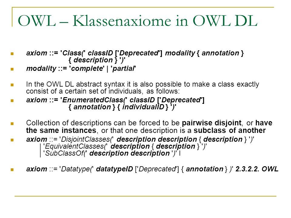 OWL – Klassenaxiome in OWL DL axiom ::= 'Class(' classID ['Deprecated'] modality { annotation } { description } ')' modality ::= 'complete' | 'partial