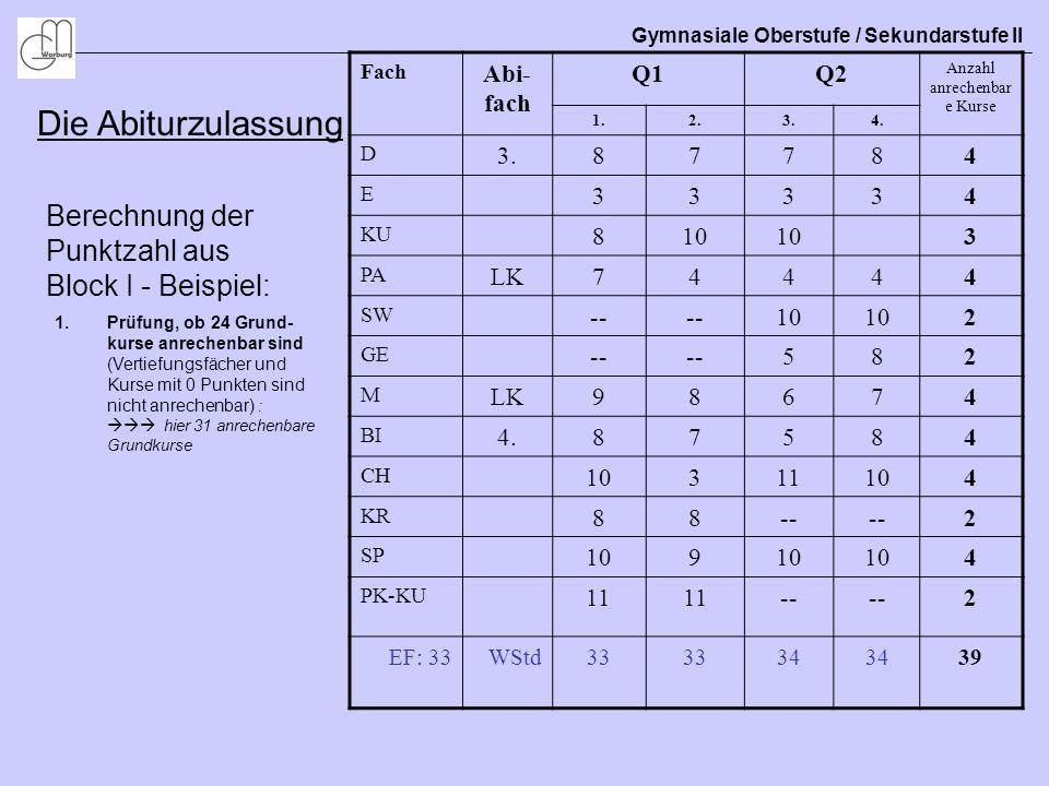 Gymnasiale Oberstufe / Sekundarstufe II Die Abiturzulassung Berechnung der Punktzahl aus Block I - Beispiel: Fach Abi- fach Q1Q2 Anzahl anrechenbar e