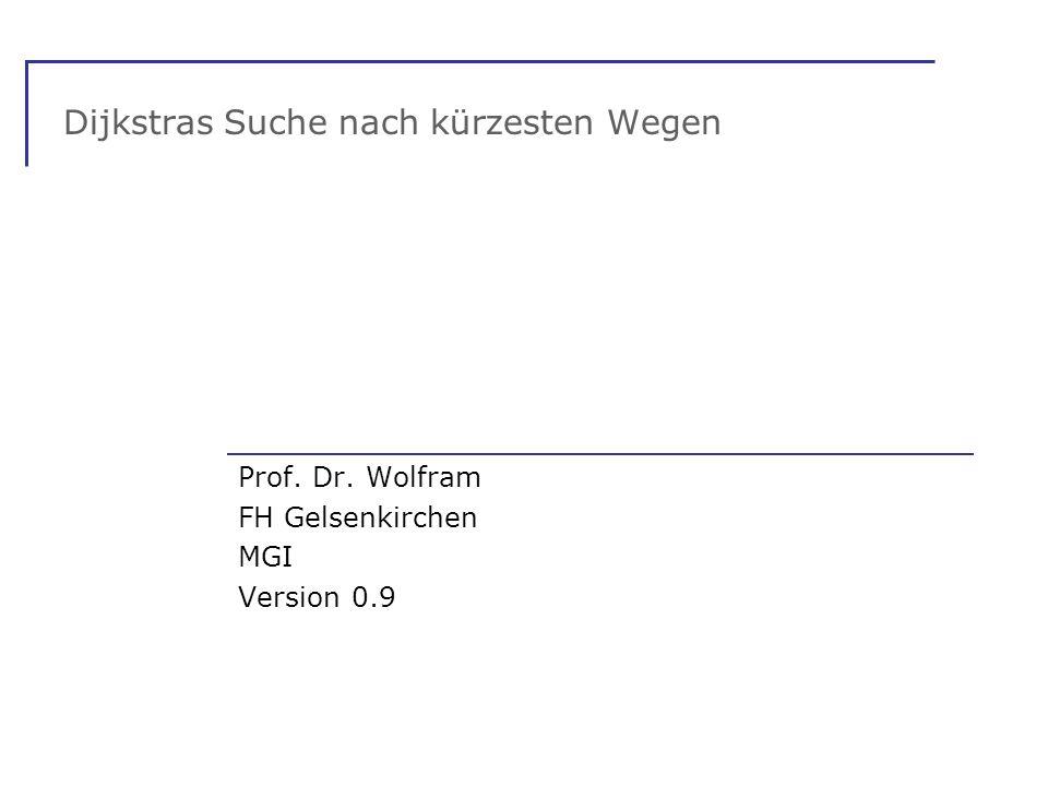 Dijkstras Suche nach kürzesten Wegen Prof. Dr. Wolfram FH Gelsenkirchen MGI Version 0.9