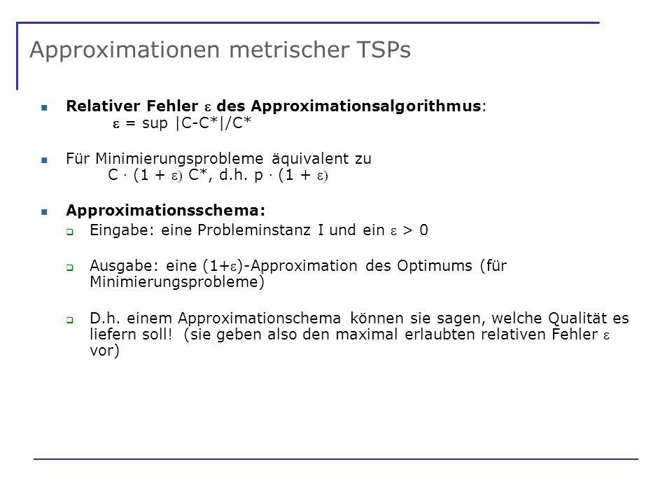 Approximationen metrischer TSPs Relativer Fehler des Approximationsalgorithmus: = sup |C-C*|/C* Für Minimierungsprobleme äquivalent zu C · (1 + C*, d.h.