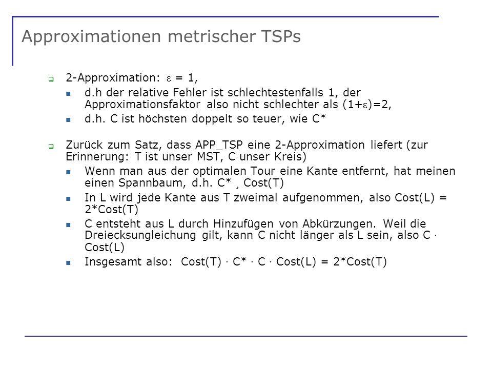 Approximationen metrischer TSPs 2-Approximation: = 1, d.h der relative Fehler ist schlechtestenfalls 1, der Approximationsfaktor also nicht schlechter als (1+)=2, d.h.