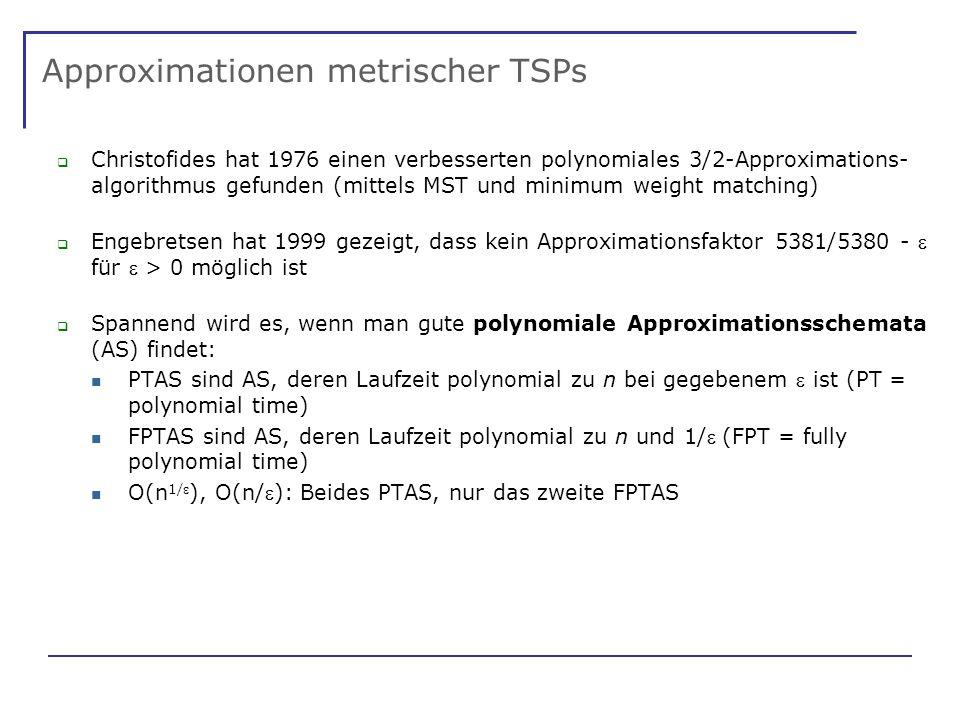 Approximationen metrischer TSPs Christofides hat 1976 einen verbesserten polynomiales 3/2-Approximations- algorithmus gefunden (mittels MST und minimum weight matching) Engebretsen hat 1999 gezeigt, dass kein Approximationsfaktor 5381/5380 - für > 0 möglich ist Spannend wird es, wenn man gute polynomiale Approximationsschemata (AS) findet: PTAS sind AS, deren Laufzeit polynomial zu n bei gegebenem ist (PT = polynomial time) FPTAS sind AS, deren Laufzeit polynomial zu n und 1/(FPT = fully polynomial time) O(n 1/ ), O(n/): Beides PTAS, nur das zweite FPTAS