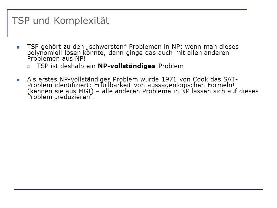 TSP und Komplexität TSP gehört zu den schwersten Problemen in NP: wenn man dieses polynomiell lösen könnte, dann ginge das auch mit allen anderen Problemen aus NP.