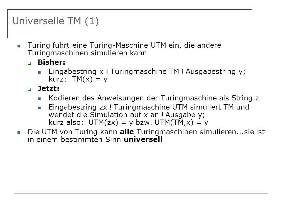 Universelle TM (1) Turing führt eine Turing-Maschine UTM ein, die andere Turingmaschinen simulieren kann Bisher: Eingabestring x .
