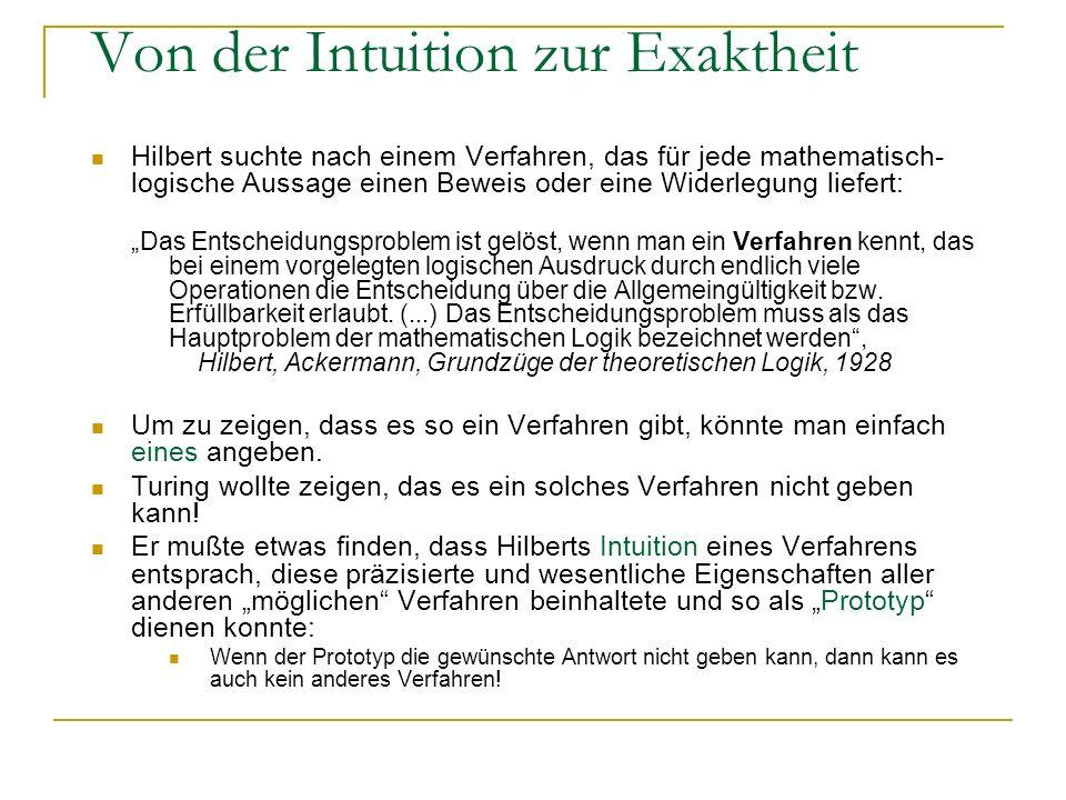 Von der Intuition zur Exaktheit Hilbert suchte nach einem Verfahren, das für jede mathematisch- logische Aussage einen Beweis oder eine Widerlegung li