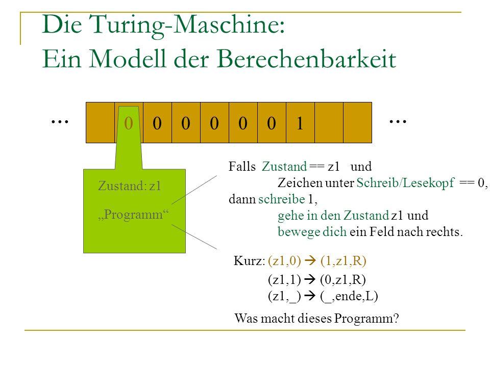 Die Turing-Maschine: Ein Modell der Berechenbarkeit... 000100 0 Zustand: z1 Programm Falls Zustand == z1 und Zeichen unter Schreib/Lesekopf == 0, dann