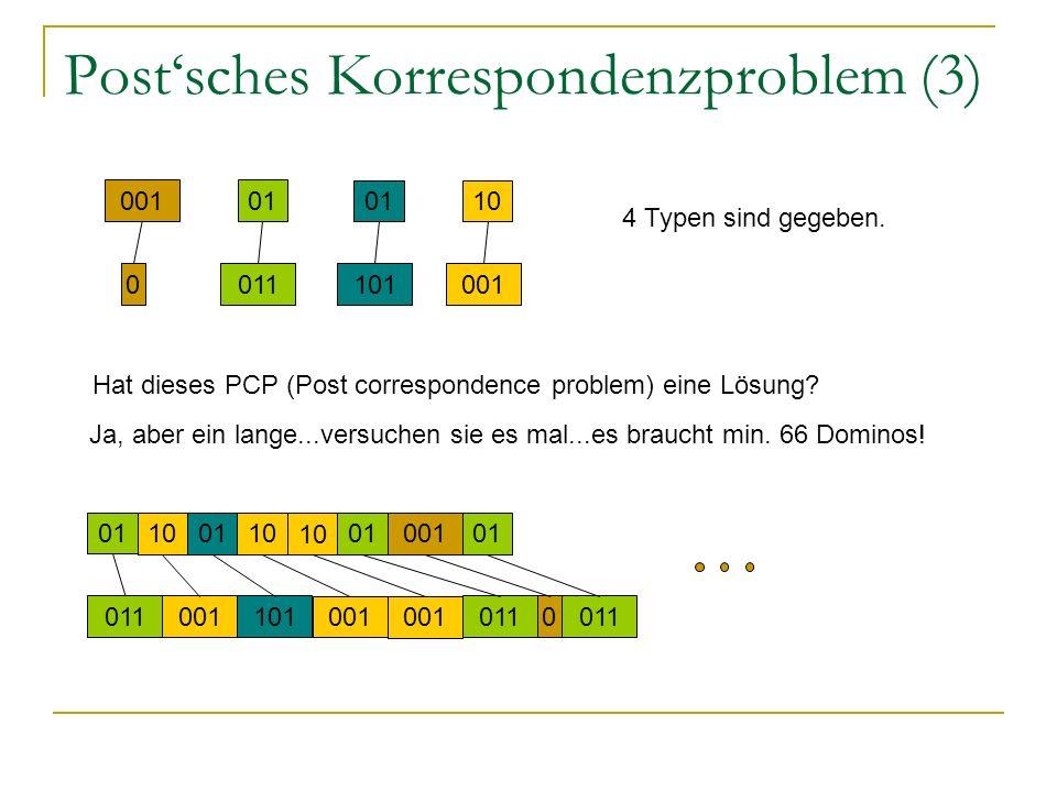 Postsches Korrespondenzproblem (3) 4 Typen sind gegeben. 001 0 01 011 01 101 10 001 Hat dieses PCP (Post correspondence problem) eine Lösung? Ja, aber