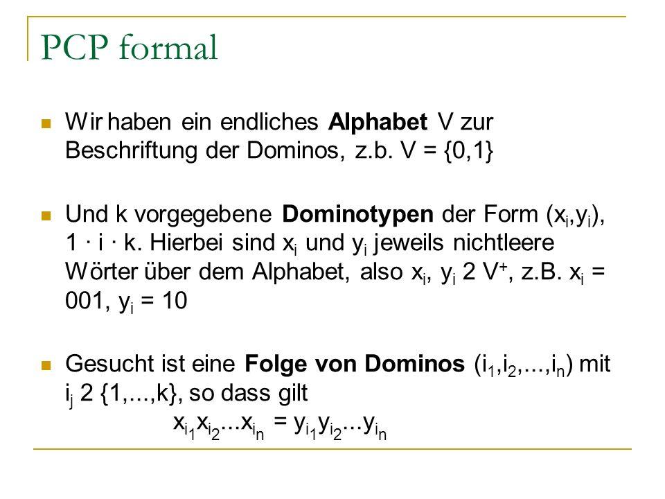PCP formal Wir haben ein endliches Alphabet V zur Beschriftung der Dominos, z.b. V = {0,1} Und k vorgegebene Dominotypen der Form (x i,y i ), 1 · i ·