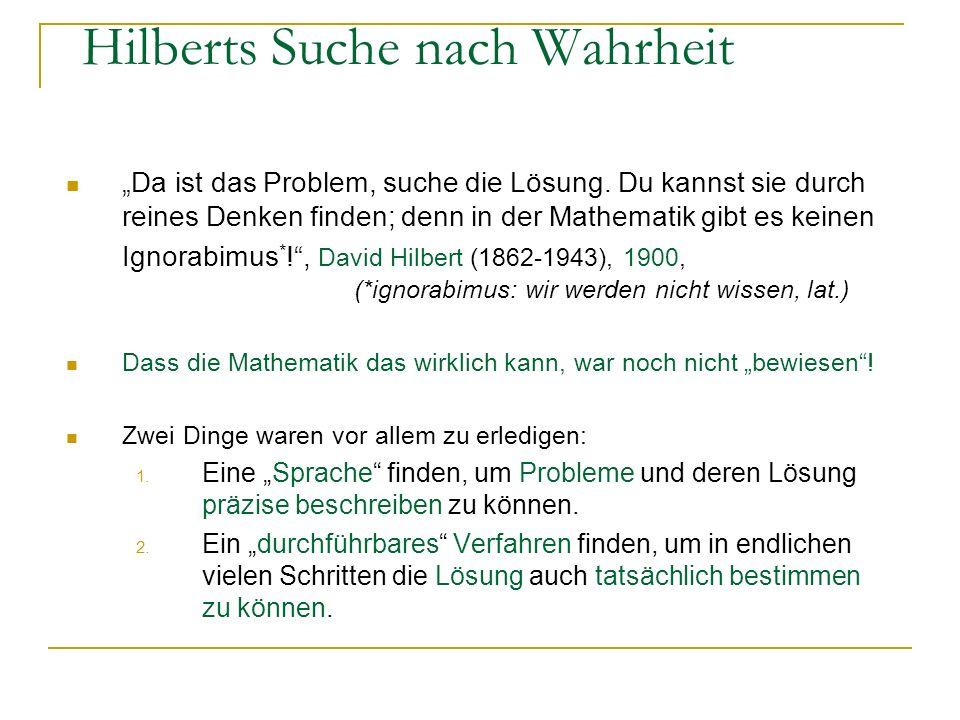 Hilberts Suche nach Wahrheit Da ist das Problem, suche die Lösung. Du kannst sie durch reines Denken finden; denn in der Mathematik gibt es keinen Ign