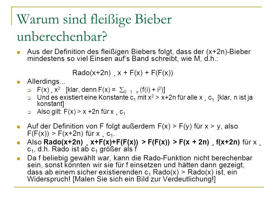 Warum sind fleißige Bieber unberechenbar? Aus der Definition des fleißigen Biebers folgt, dass der (x+2n)-Bieber mindestens so viel Einsen aufs Band s