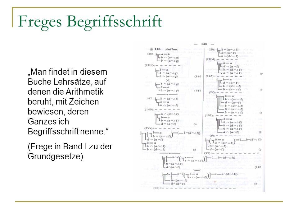 Freges Begriffsschrift Man findet in diesem Buche Lehrsätze, auf denen die Arithmetik beruht, mit Zeichen bewiesen, deren Ganzes ich Begriffsschrift n
