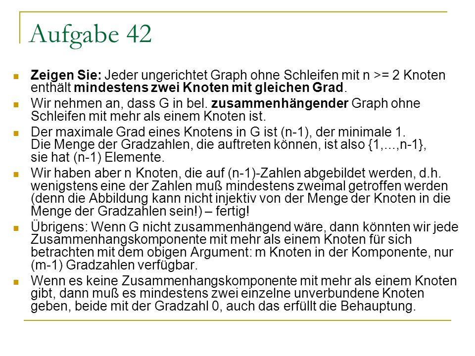 Aufgabe 42 Zeigen Sie: Jeder ungerichtet Graph ohne Schleifen mit n >= 2 Knoten enthält mindestens zwei Knoten mit gleichen Grad.