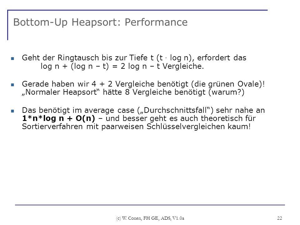 (c) W. Conen, FH GE, ADS, V1.0a 22 Bottom-Up Heapsort: Performance Geht der Ringtausch bis zur Tiefe t (t · log n), erfordert das log n + (log n – t)