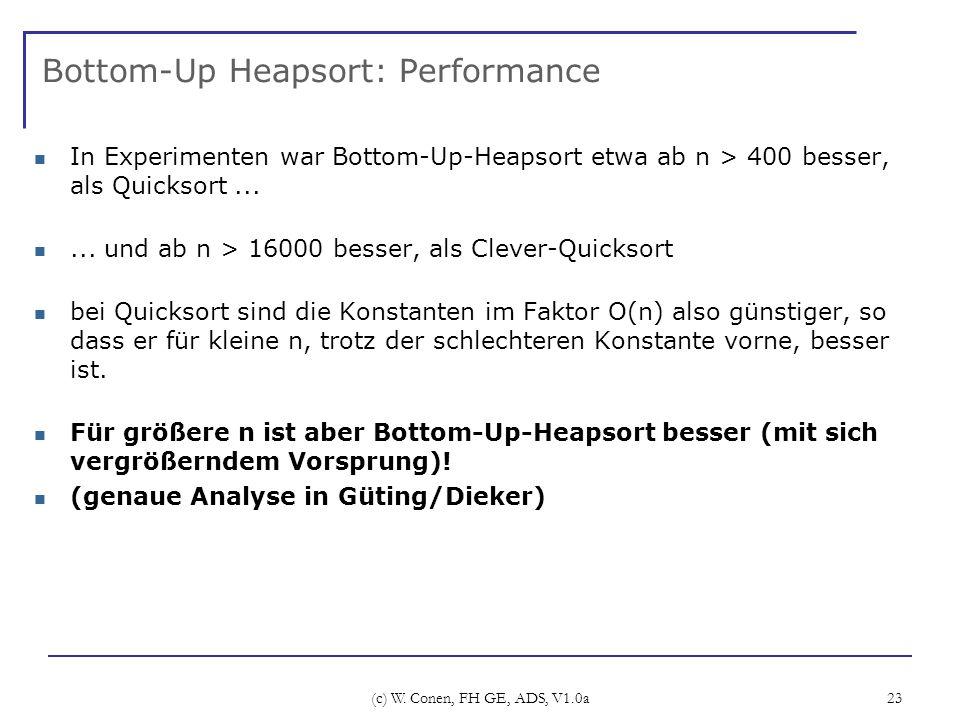 (c) W. Conen, FH GE, ADS, V1.0a 23 Bottom-Up Heapsort: Performance In Experimenten war Bottom-Up-Heapsort etwa ab n > 400 besser, als Quicksort......