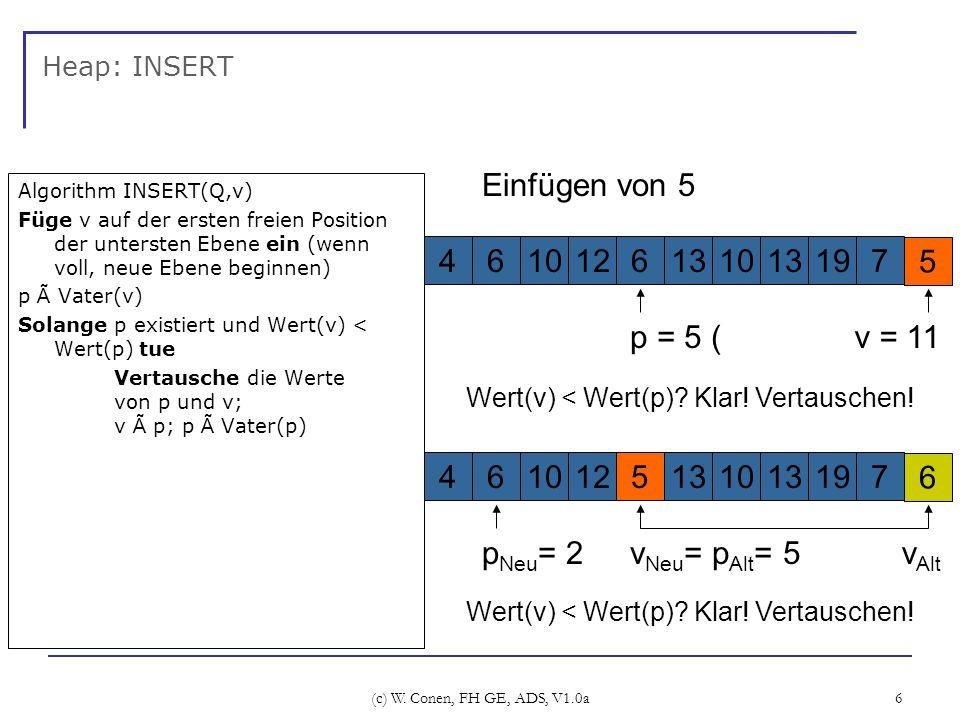 (c) W. Conen, FH GE, ADS, V1.0a 6 Heap: INSERT Algorithm INSERT(Q,v) Füge v auf der ersten freien Position der untersten Ebene ein (wenn voll, neue Eb