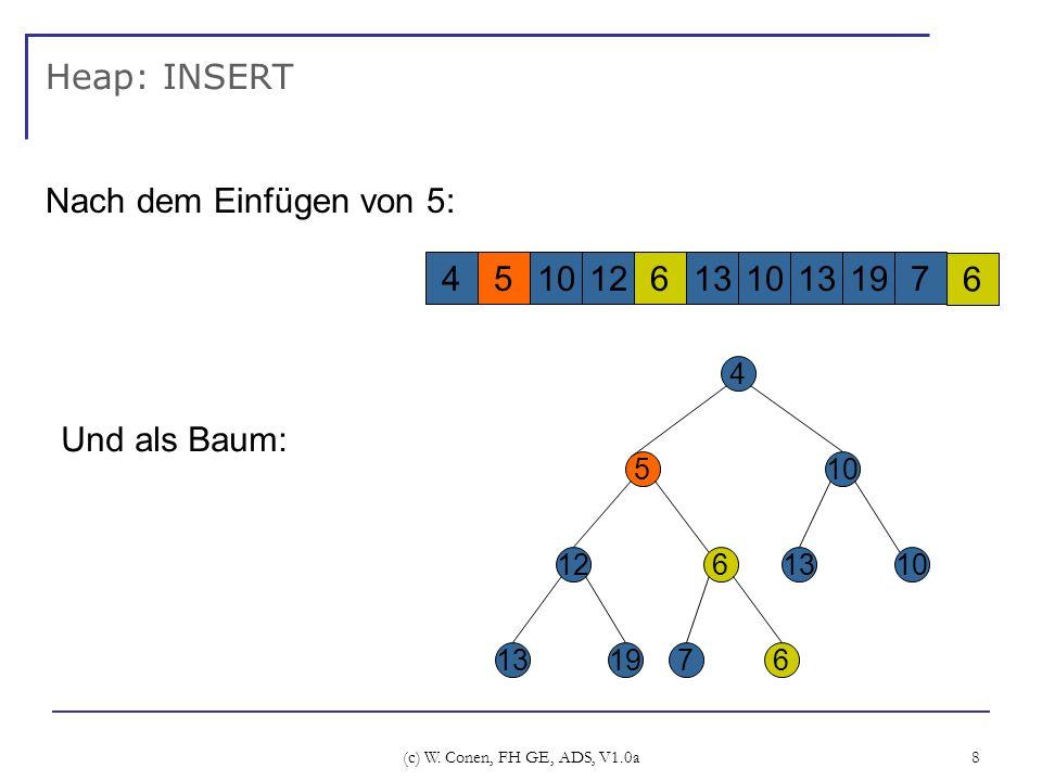 (c) W. Conen, FH GE, ADS, V1.0a 8 Heap: INSERT Nach dem Einfügen von 5: 4 5 12 1319 6 7 10 1310 6 Und als Baum: 4510126131013197 6