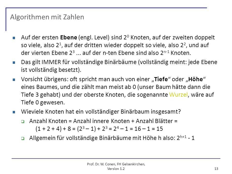 Prof. Dr. W. Conen, FH Gelsenkirchen, Version 1.2 13 Algorithmen mit Zahlen Auf der ersten Ebene (engl. Level) sind 2 0 Knoten, auf der zweiten doppel