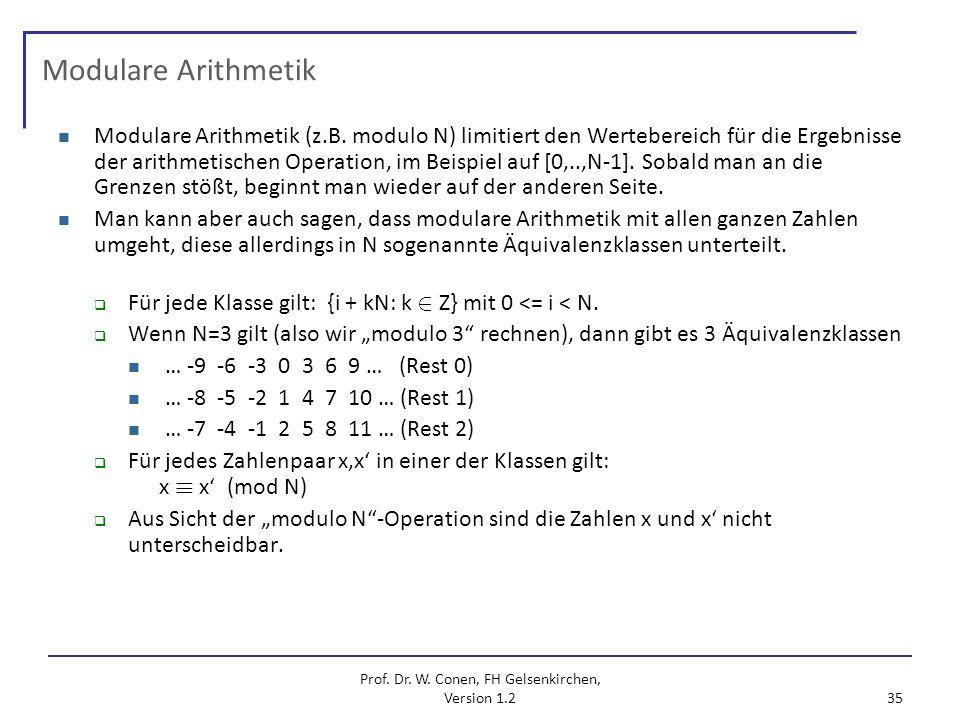 Prof. Dr. W. Conen, FH Gelsenkirchen, Version 1.2 35 Modulare Arithmetik Modulare Arithmetik (z.B. modulo N) limitiert den Wertebereich für die Ergebn