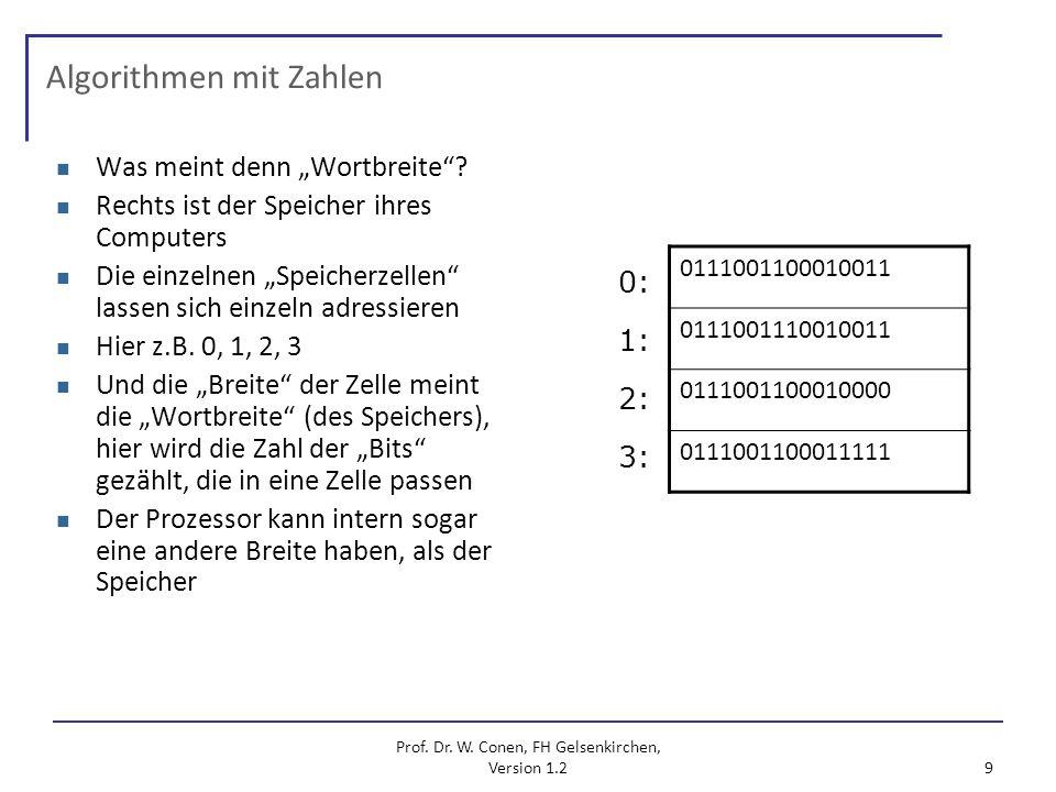 Prof. Dr. W. Conen, FH Gelsenkirchen, Version 1.2 9 Algorithmen mit Zahlen Was meint denn Wortbreite? Rechts ist der Speicher ihres Computers Die einz