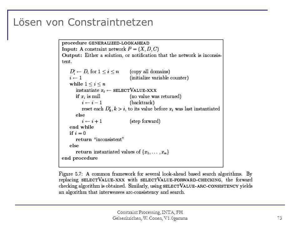 Constraint Processing, INTA, FH Gelsenkrichen, W. Conen, V1.0gamma 73 Lösen von Constraintnetzen