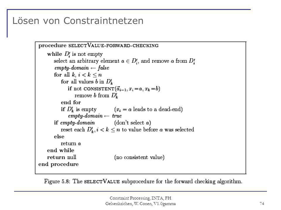 Constraint Processing, INTA, FH Gelsenkrichen, W. Conen, V1.0gamma 74 Lösen von Constraintnetzen