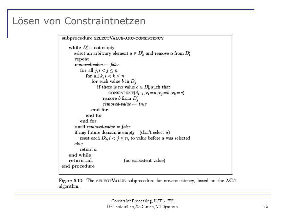 Constraint Processing, INTA, FH Gelsenkrichen, W. Conen, V1.0gamma 76 Lösen von Constraintnetzen