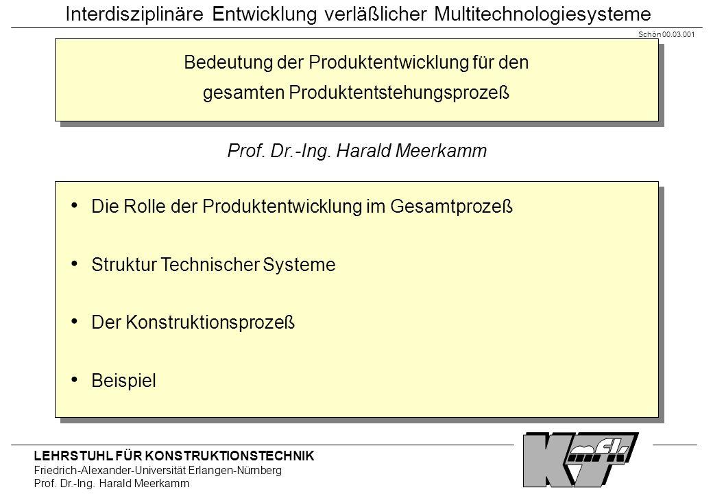 LEHRSTUHL FÜR KONSTRUKTIONSTECHNIK Friedrich-Alexander-Universität Erlangen-Nürnberg Prof. Dr.-Ing. Harald Meerkamm Interdisziplinäre Entwicklung verl
