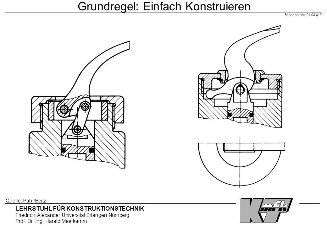 LEHRSTUHL FÜR KONSTRUKTIONSTECHNIK Friedrich-Alexander-Universität Erlangen-Nürnberg Prof. Dr.-Ing. Harald Meerkamm Bachschuster 04.08.019 Grundregel: