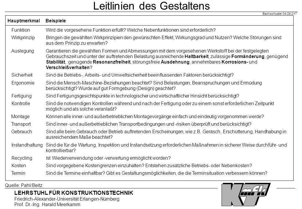 LEHRSTUHL FÜR KONSTRUKTIONSTECHNIK Friedrich-Alexander-Universität Erlangen-Nürnberg Prof. Dr.-Ing. Harald Meerkamm Bachschuster 04.08.017 Leitlinien