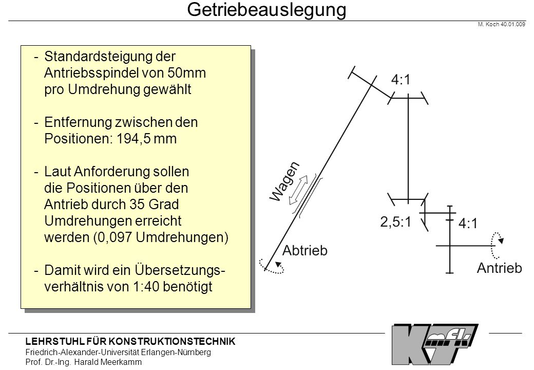 LEHRSTUHL FÜR KONSTRUKTIONSTECHNIK Friedrich-Alexander-Universität Erlangen-Nürnberg Prof. Dr.-Ing. Harald Meerkamm Getriebeauslegung - Standardsteigu