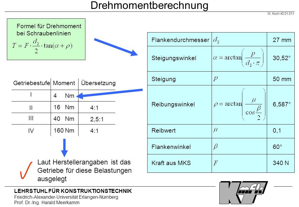 LEHRSTUHL FÜR KONSTRUKTIONSTECHNIK Friedrich-Alexander-Universität Erlangen-Nürnberg Prof. Dr.-Ing. Harald Meerkamm Drehmomentberechnung Formel für Dr