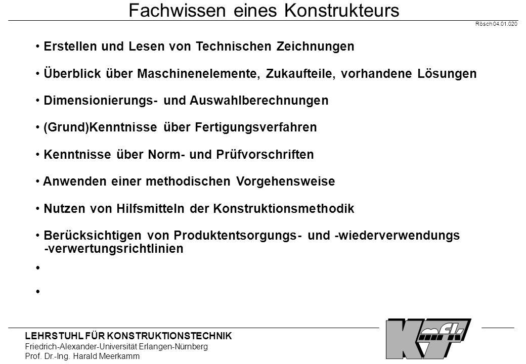 LEHRSTUHL FÜR KONSTRUKTIONSTECHNIK Friedrich-Alexander-Universität Erlangen-Nürnberg Prof. Dr.-Ing. Harald Meerkamm Rösch 04.01.020 Fachwissen eines K