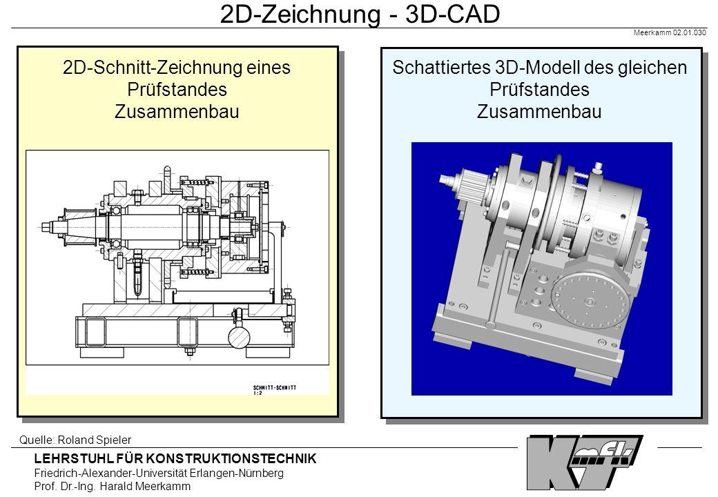 LEHRSTUHL FÜR KONSTRUKTIONSTECHNIK Friedrich-Alexander-Universität Erlangen-Nürnberg Prof. Dr.-Ing. Harald Meerkamm Meerkamm 02.01.030 2D-Zeichnung -