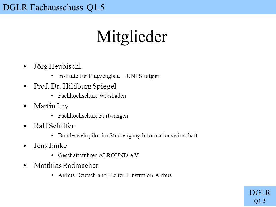 DGLR Fachausschuss Q1.5 DGLR Q1.5 Mitglieder Jörg Heubischl Institute für Flugzeugbau – UNI Stuttgart Prof. Dr. Hildburg Spiegel Fachhochschule Wiesba