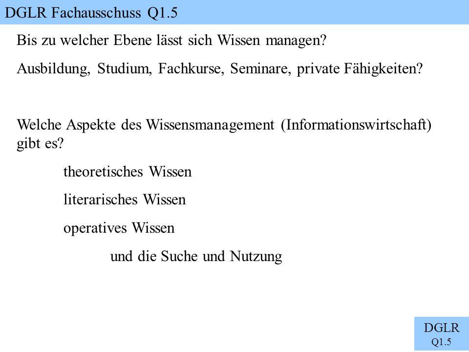 DGLR Fachausschuss Q1.5 DGLR Q1.5 Bis zu welcher Ebene lässt sich Wissen managen? Ausbildung, Studium, Fachkurse, Seminare, private Fähigkeiten? Welch