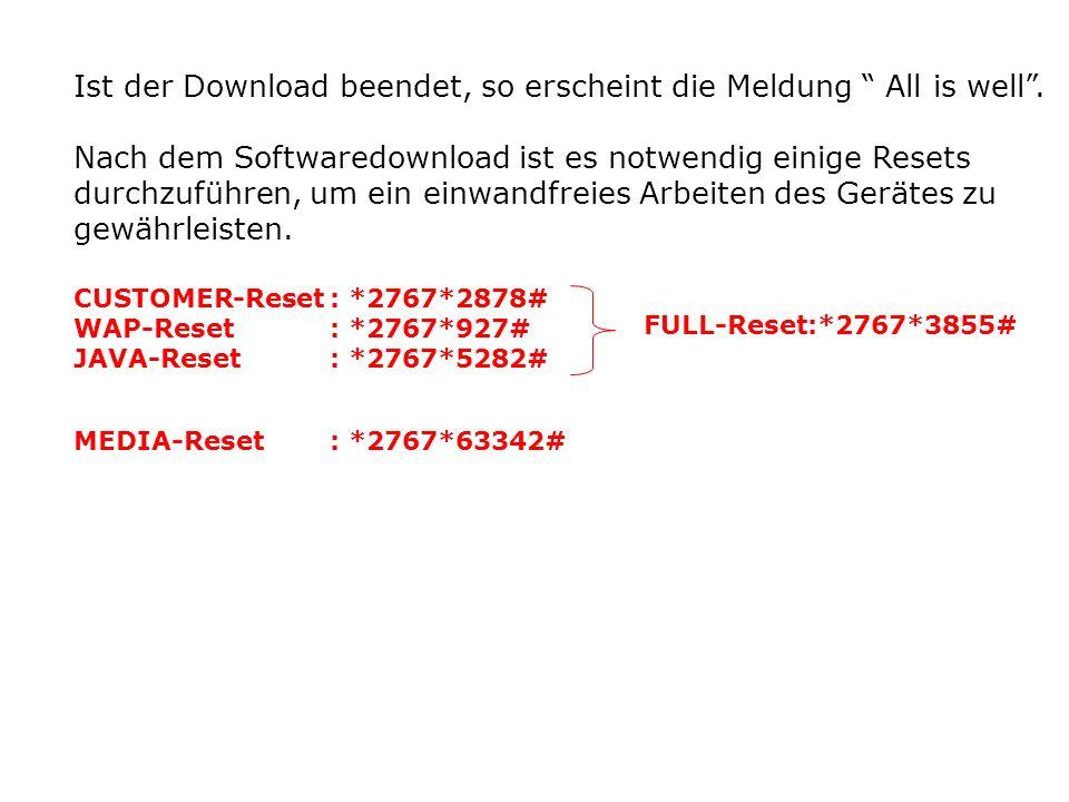 Ist der Download beendet, so erscheint die Meldung All is well.
