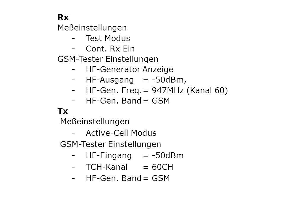 Rx Meßeinstellungen -Test Modus -Cont.
