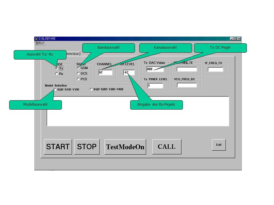 Auswahl Tx/ Rx BandauswahlKanalauswahl Eingabe des Rx-Pegels Modellauswahl Tx DC Pegel