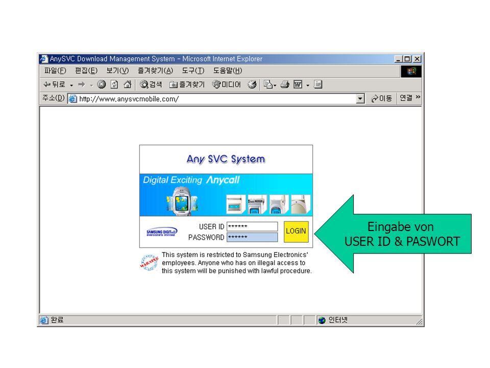 Eingabe von USER ID & PASWORT
