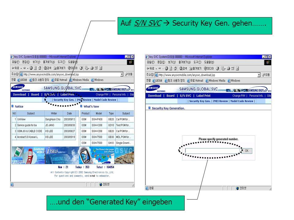 ….und den Generated Key eingeben Auf S/N SVC Security Key Gen. gehen…….