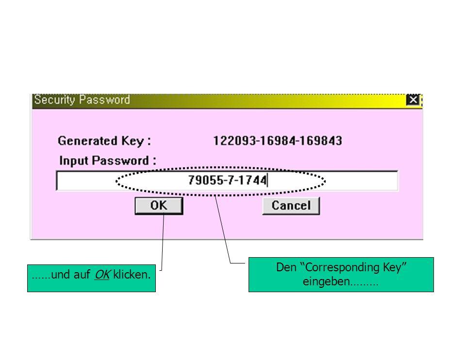 Den Corresponding Key eingeben……… ……und auf OK klicken.