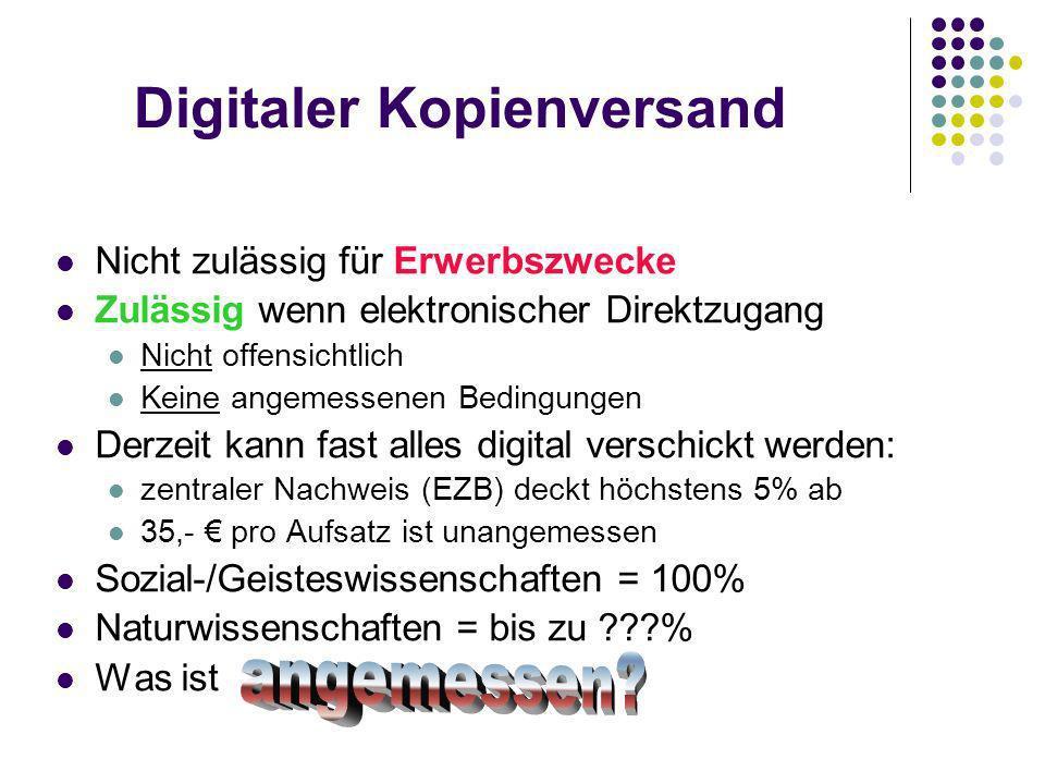 Digitaler Kopienversand Nicht zulässig für Erwerbszwecke Zulässig wenn elektronischer Direktzugang Nicht offensichtlich Keine angemessenen Bedingungen Derzeit kann fast alles digital verschickt werden: zentraler Nachweis (EZB) deckt höchstens 5% ab 35,- pro Aufsatz ist unangemessen Sozial-/Geisteswissenschaften = 100% Naturwissenschaften = bis zu % Was ist