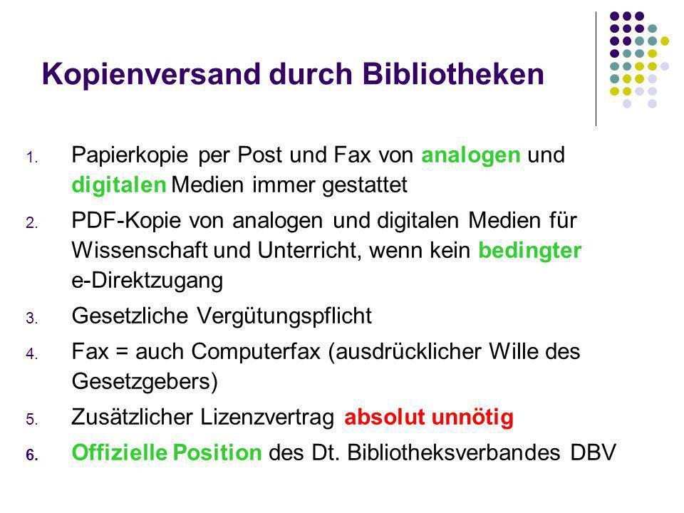 Kopienversand durch Bibliotheken 1.