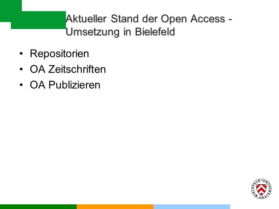 Aktueller Stand der Open Access - Umsetzung in Bielefeld Repositorien OA Zeitschriften OA Publizieren